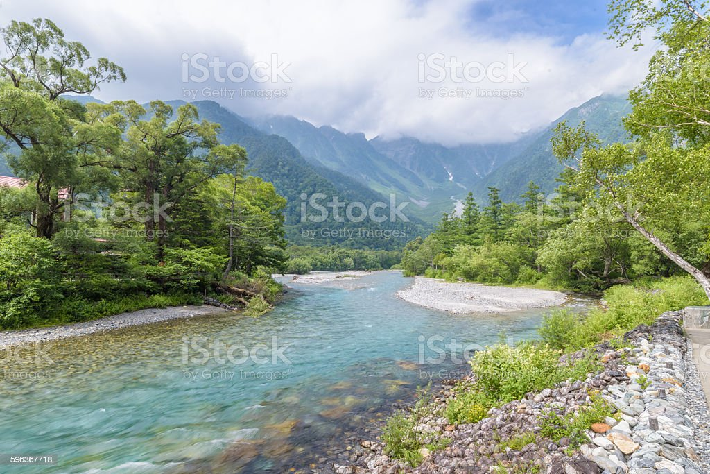 Hotaka Mountain (View from Kappa-bashi Bridge) in Kamikochi, Nagano, Japan stock photo