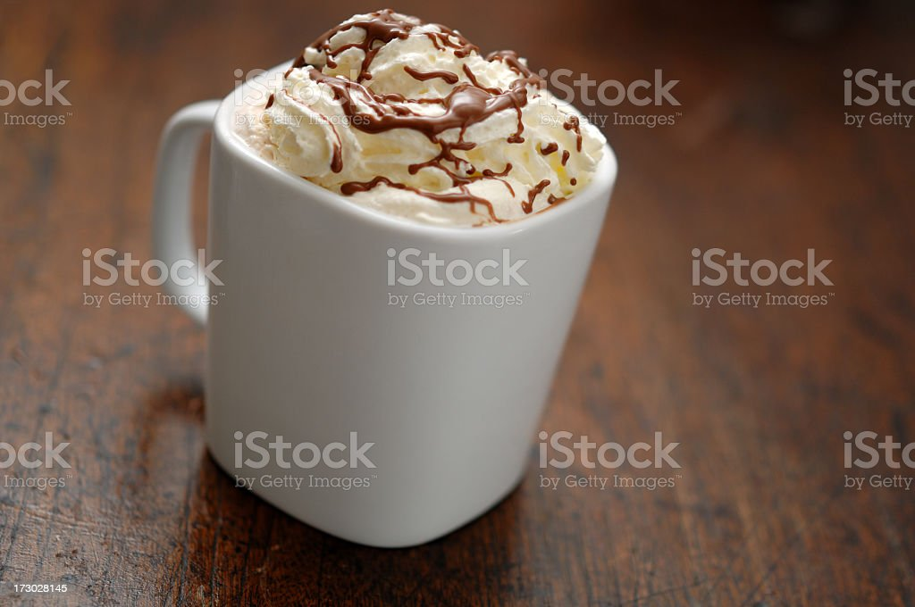 hotchocolate topped with cream and melted chocolate royalty-free stock photo