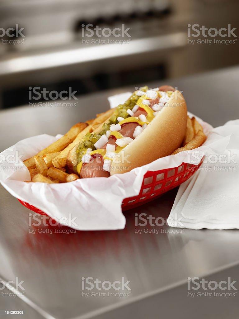Hotdog and Fries stock photo