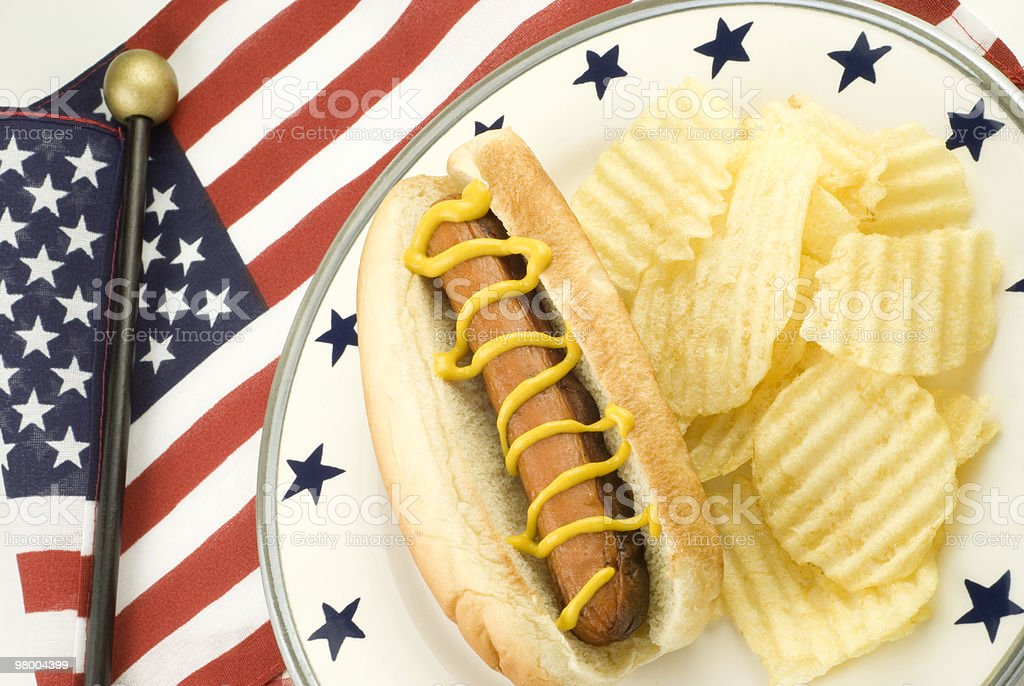 Hotdog and Potato Chips with Patriotic Theme royalty-free stock photo