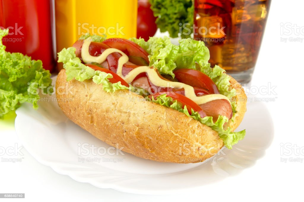Hotdog on plate with french fries with cola stock photo