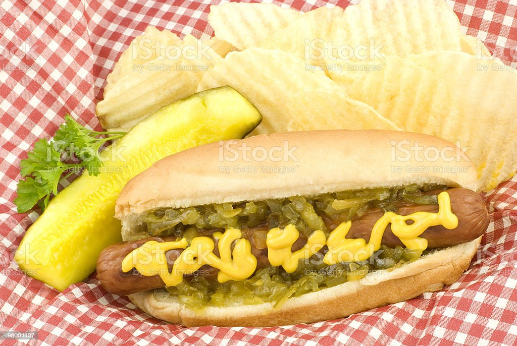 Hotdog Potato Chips and Pickle royalty-free stock photo
