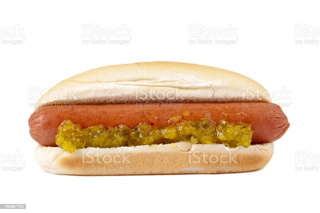 hotdog sandwich with crushed pickles stock photo