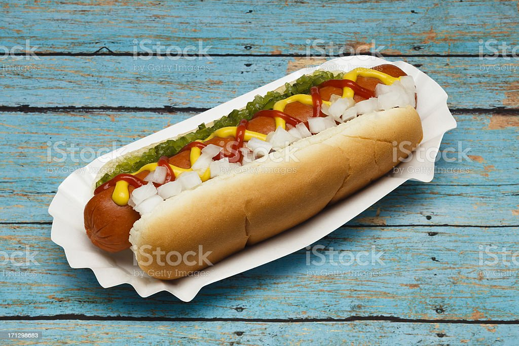 Hotdog with Fixins royalty-free stock photo