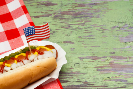 Hotdog With Flag Stock Photo - Download Image Now