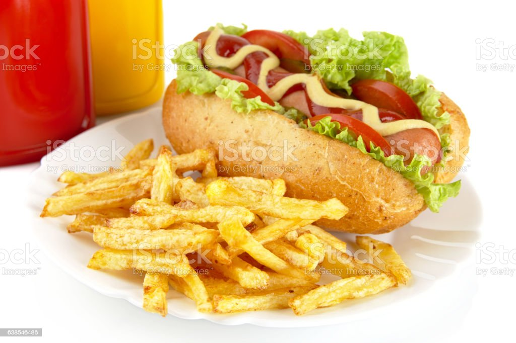 Hotdog with french fries on a plate on white stock photo