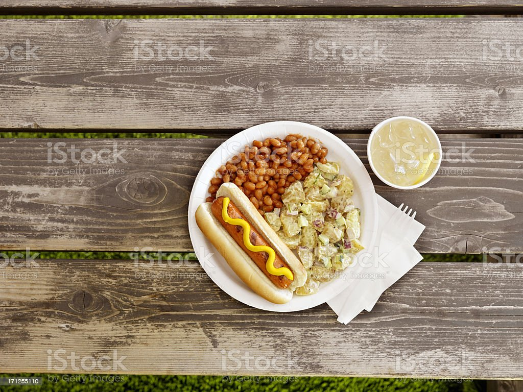 BBQ Hotdog with Lemonade royalty-free stock photo