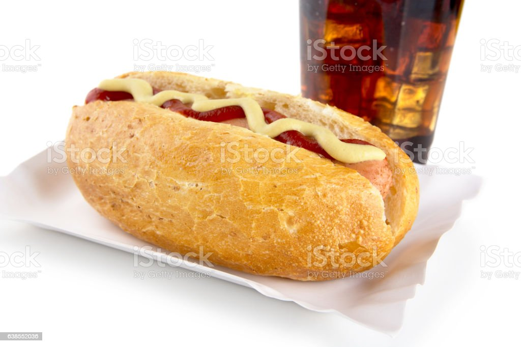 Hot-dog with mustard,ketchup in  tray with cola on white stock photo