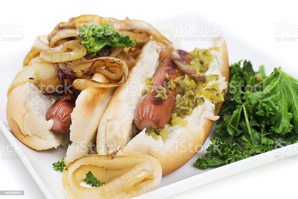 Hotdogs with Caramelized Onions and Relish royalty-free stock photo