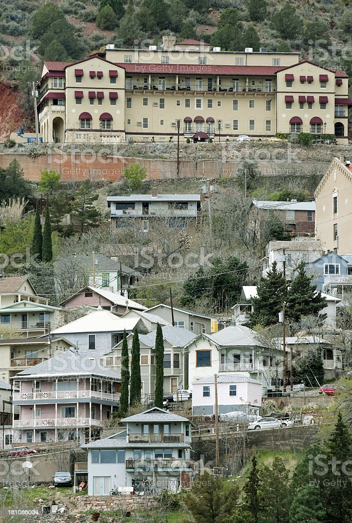 Hotel above mining town of Jerome AZ royalty-free stock photo