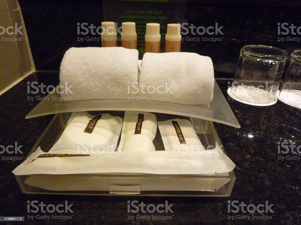 Hotel amenities kit set stock photo