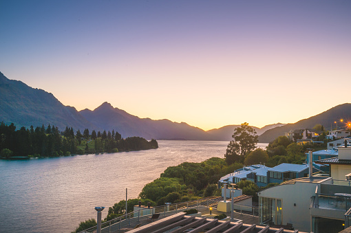 Hotel an resort scenics sunet view at New Zealand's most popular tourist destination natural sunlight background natural condition cooling feeling