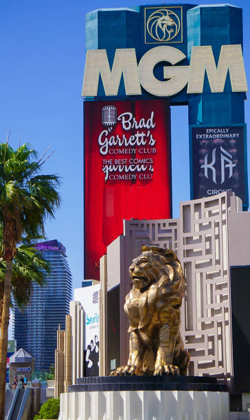 MGM Hotel and Resort Signs and Lion stock photo