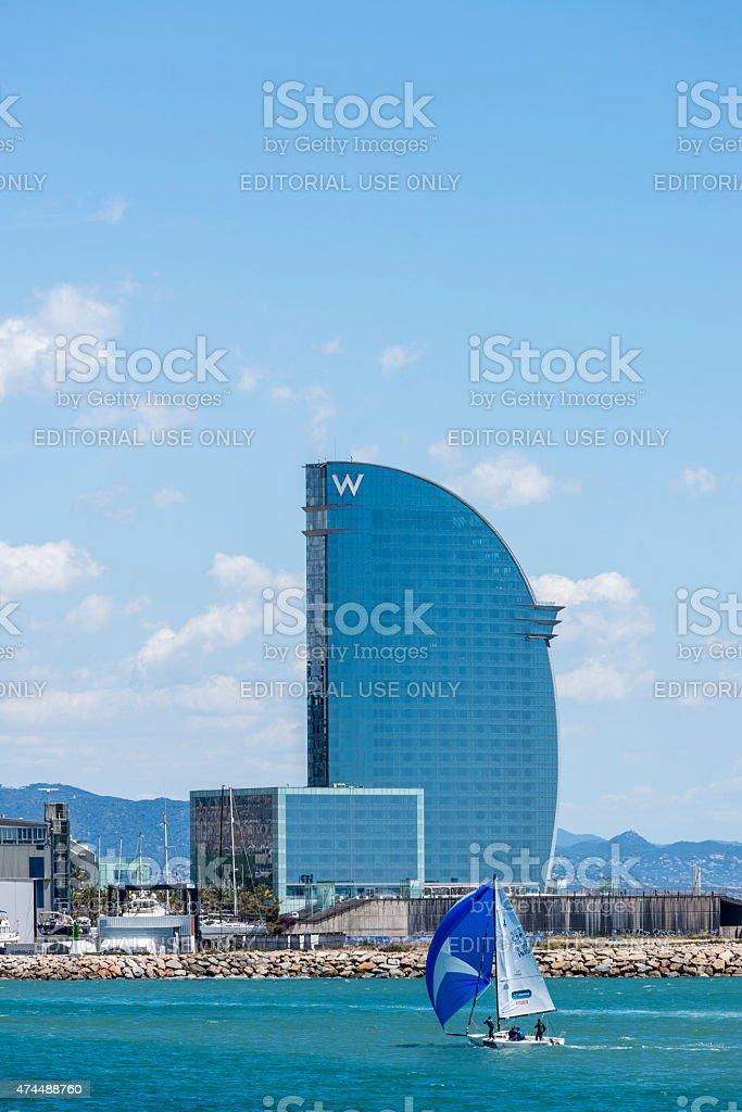 W hotel and sailboat sailing, Barcelona stock photo