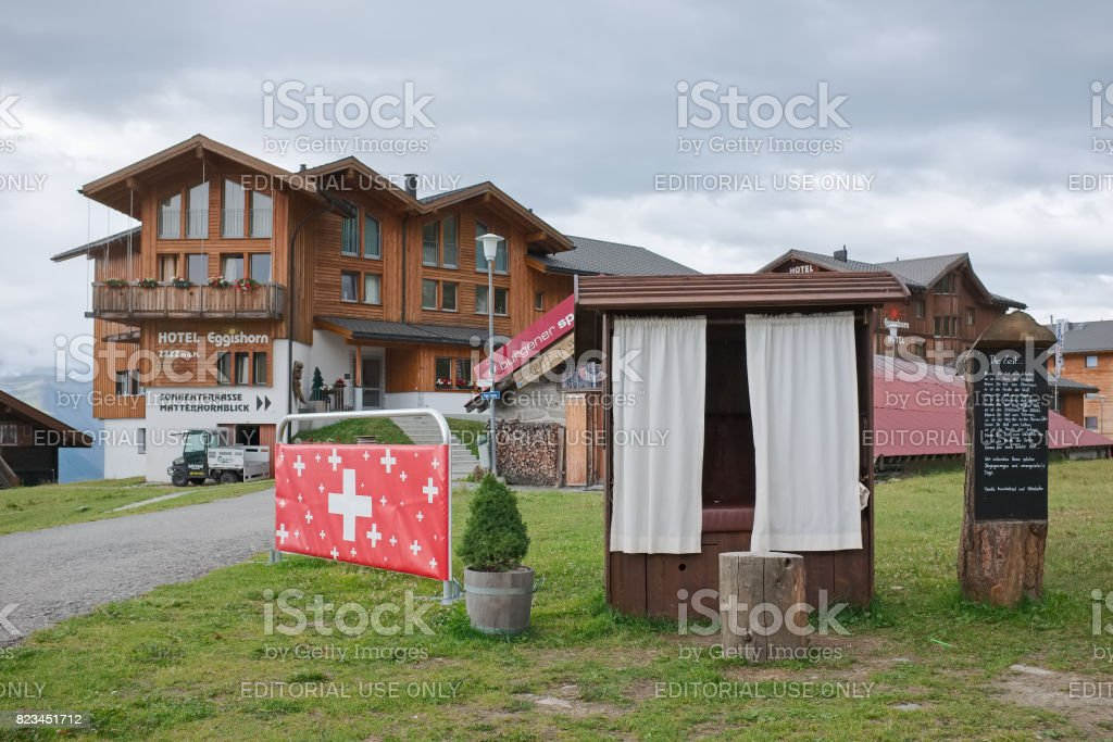 Hotel and terrace in the mountain village of Fiescheralp stock photo