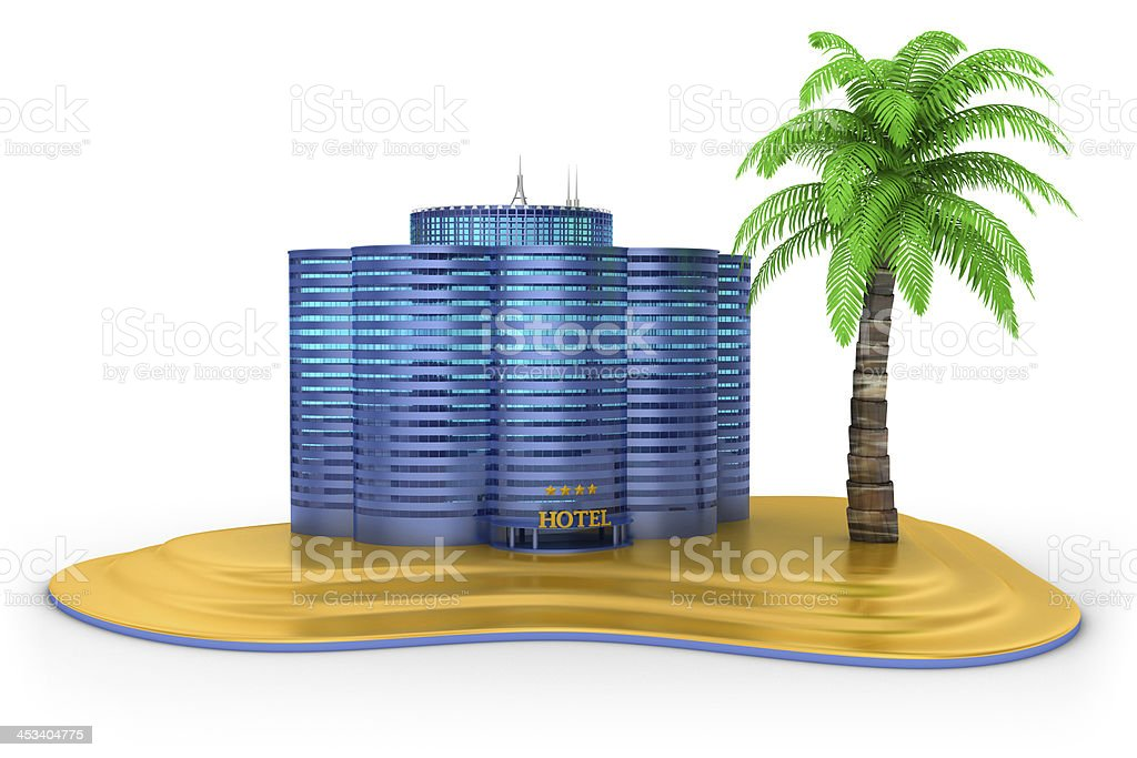 Hotel and the Beach royalty-free stock photo