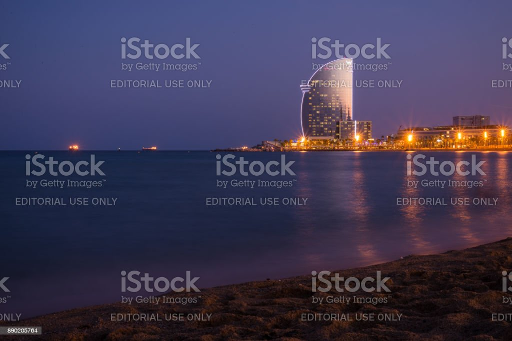 W hotel at blue hour in Barcelona, Spain stock photo
