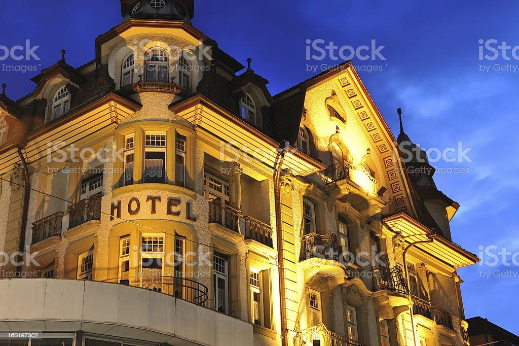 Hotel at night in Interlaken of Switzerland royalty-free stock photo