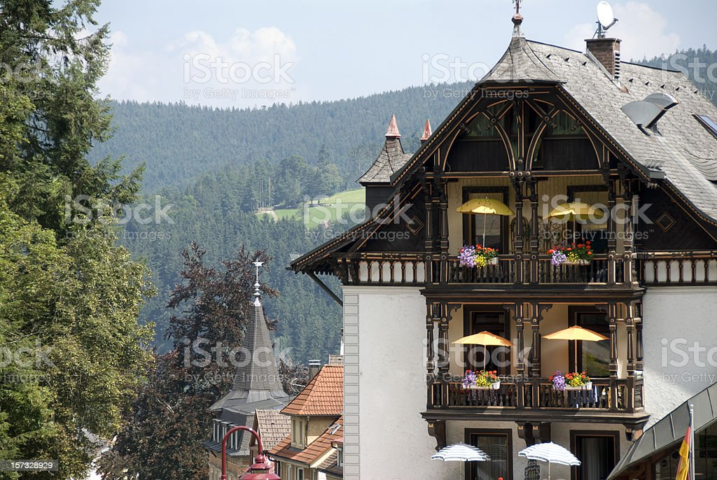 hotel balcony in Triberg Black Forest Germany stock photo