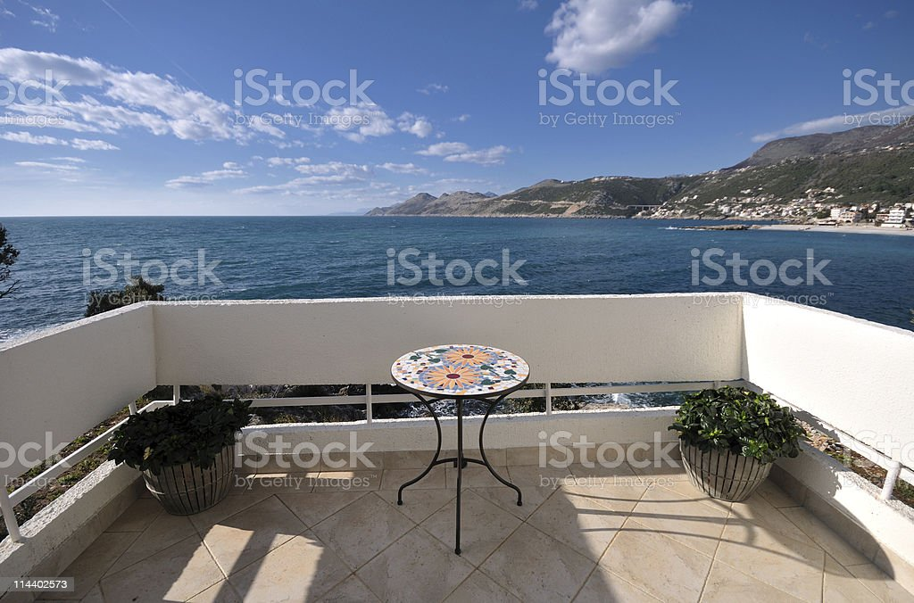 Hotel balcony view royalty-free stock photo