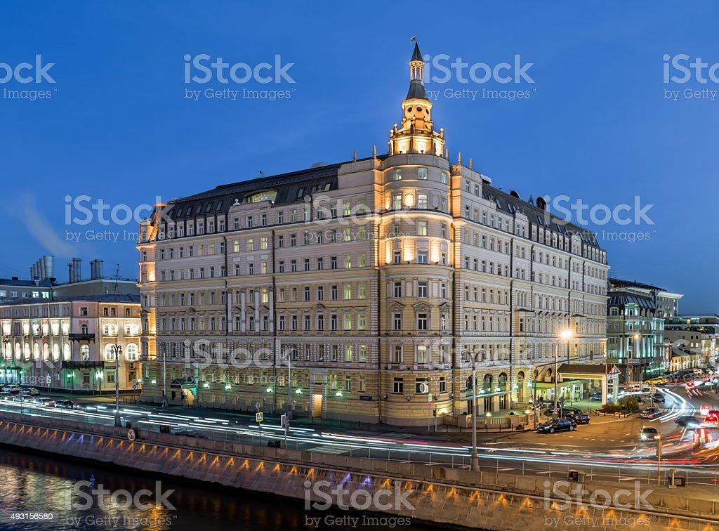 Hotel Baltschug Kempinski at dusk. stock photo
