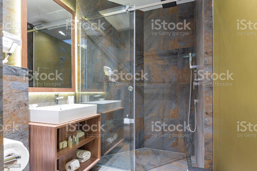 Hotel bathroom interior stock photo