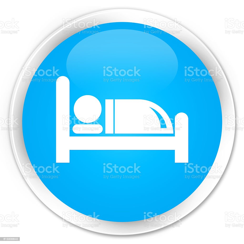 Hotel bed icon cyan blue glossy round button stock photo