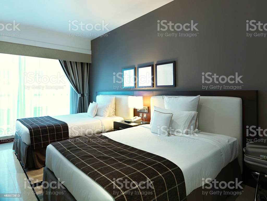 hotel bedroom stock photo