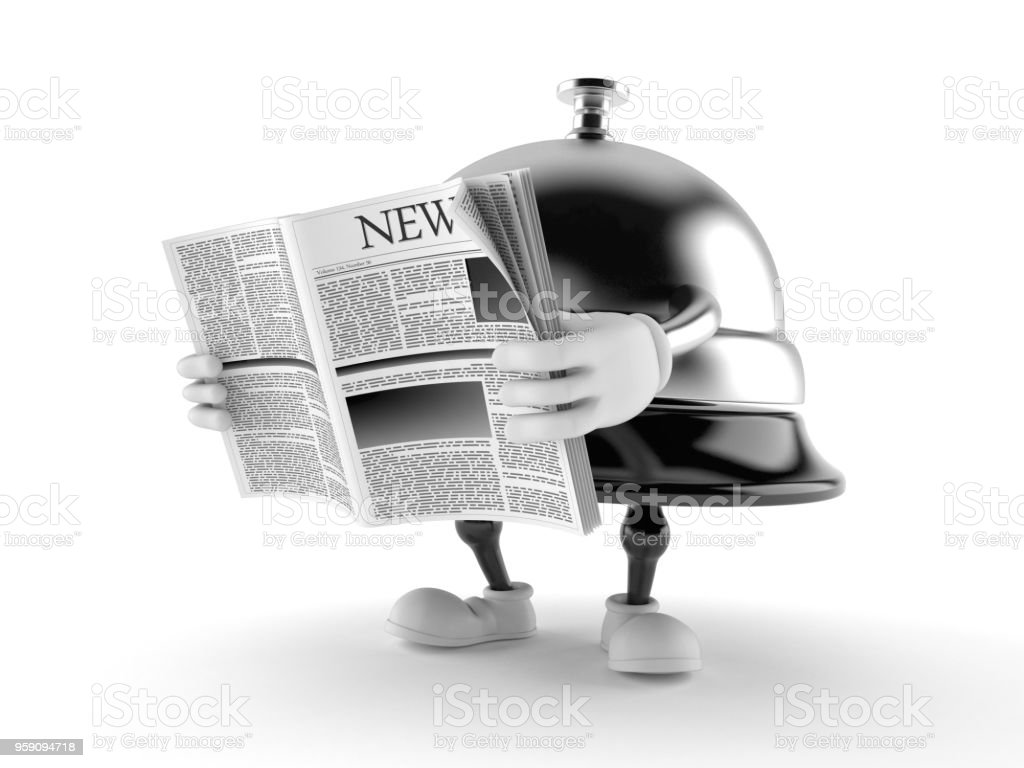 Hotel bell character reading newspaper stock photo