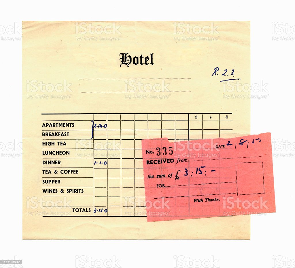 Hotel bill and receipt 1957 royalty-free stock photo