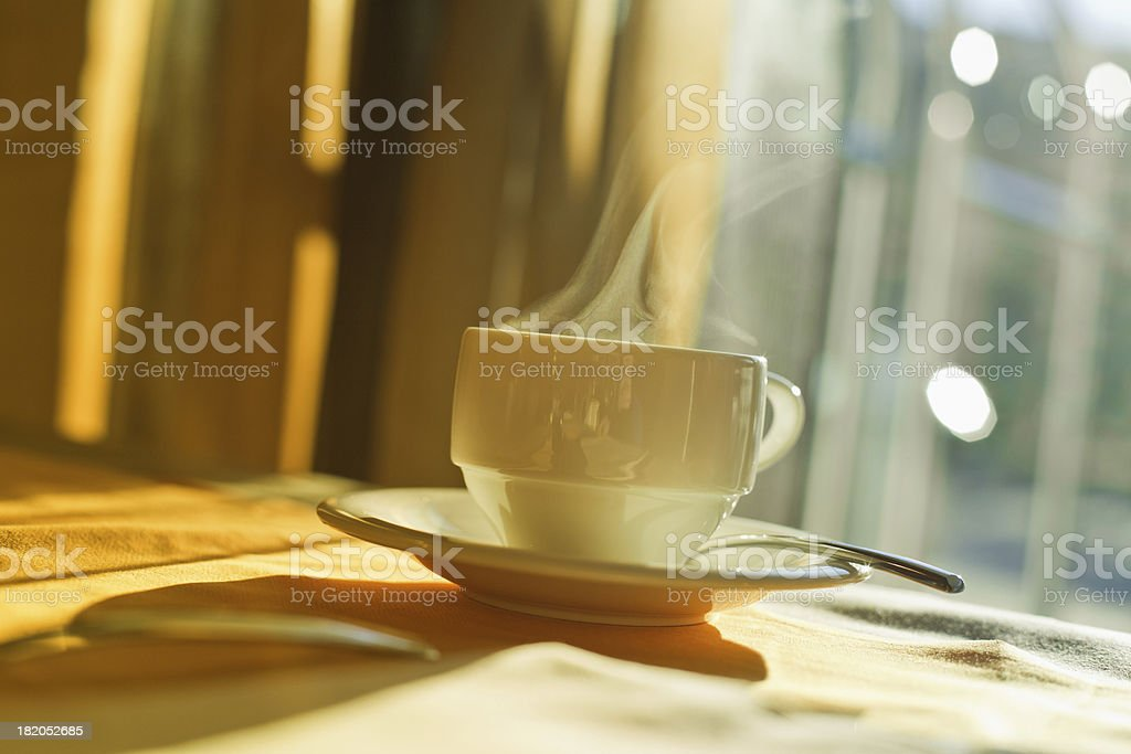 Hotel Breakfast, Hot Cup of Coffee royalty-free stock photo