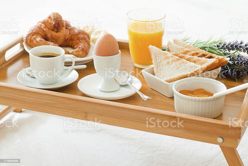 Hotel breakfast on a tray royalty-free stock photo