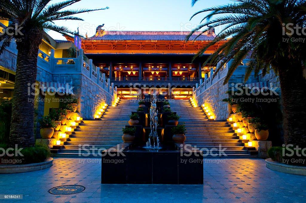Hotel building at evening time, Sanya, China stock photo