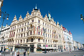 Hotel building corner in Prague, Czech Republic