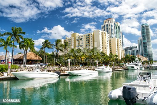 miami beach coastline with hotel buildings near bay with white yachts and boats with green palm trees on cloudy blue sky background
