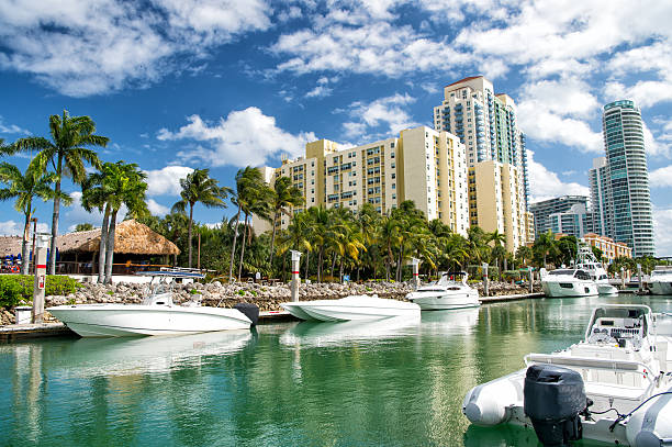 hotel buildings with yachts and palm trees miami beach coastline with hotel buildings near bay with white yachts and boats with green palm trees on cloudy blue sky background bay of water stock pictures, royalty-free photos & images