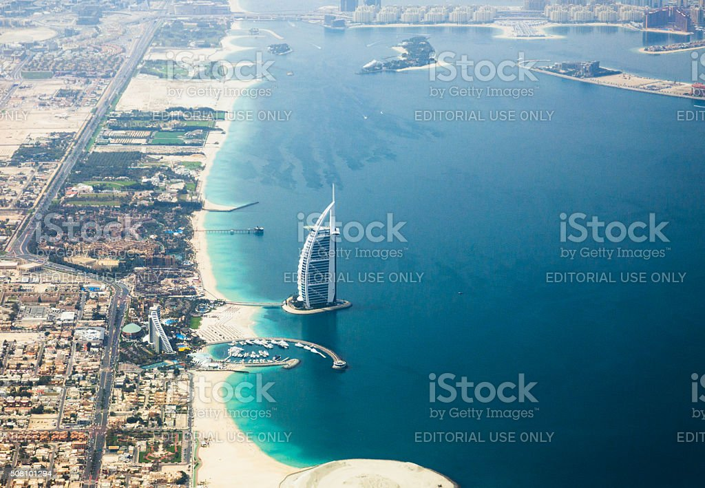 Hotel Burj Al Arab, bird view stock photo