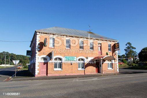 Zeehan, Tasmania: April 04, 2019: Hotel Cecil was established in the early 20th century when Zeehan was a busy mining town. Today it caters for localc, tourists and backpackers.