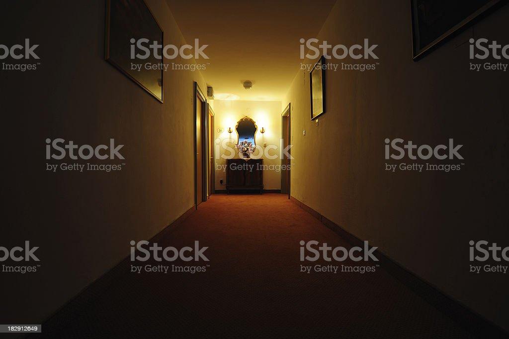 Hotel corridor by night royalty-free stock photo