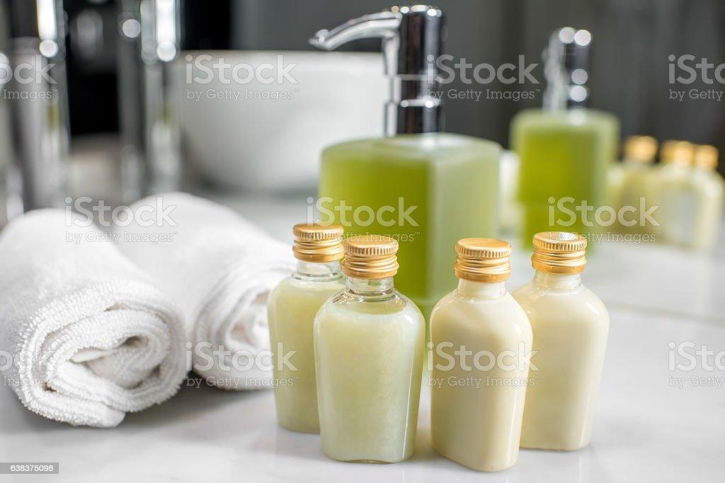Hotel cosmetics in the bathroom stock photo