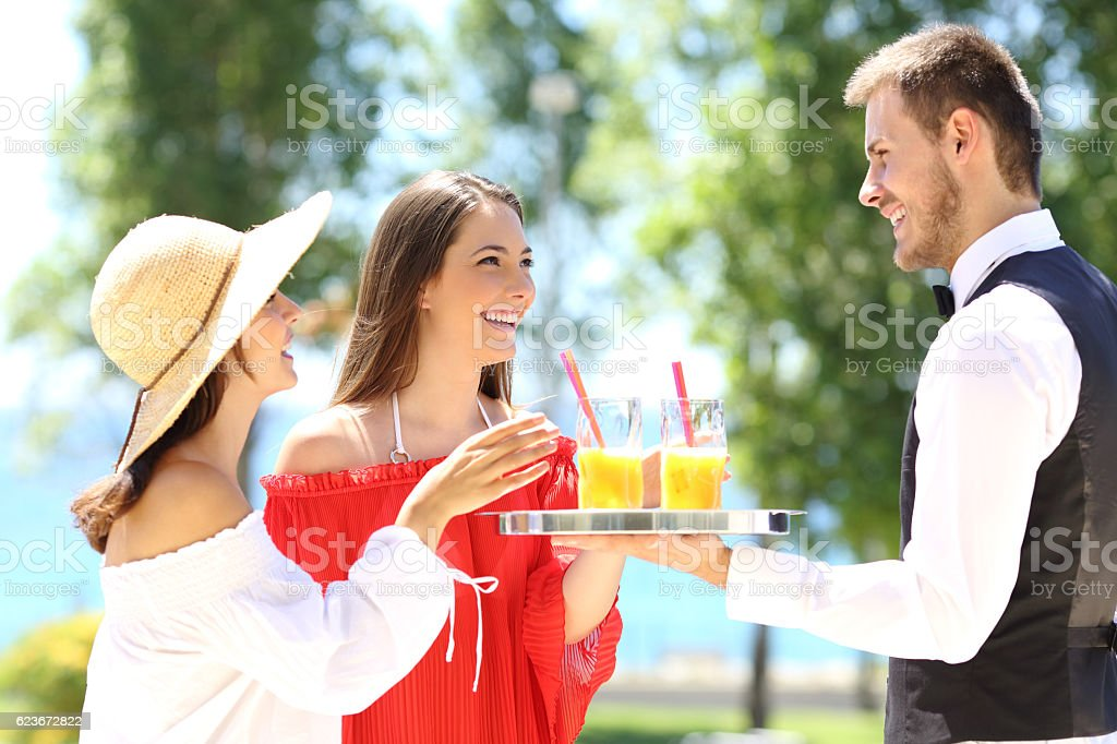 Hotel customers on summer vacations stock photo