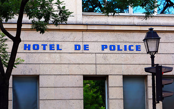hotel de police sign on the building - detachment stock pictures, royalty-free photos & images