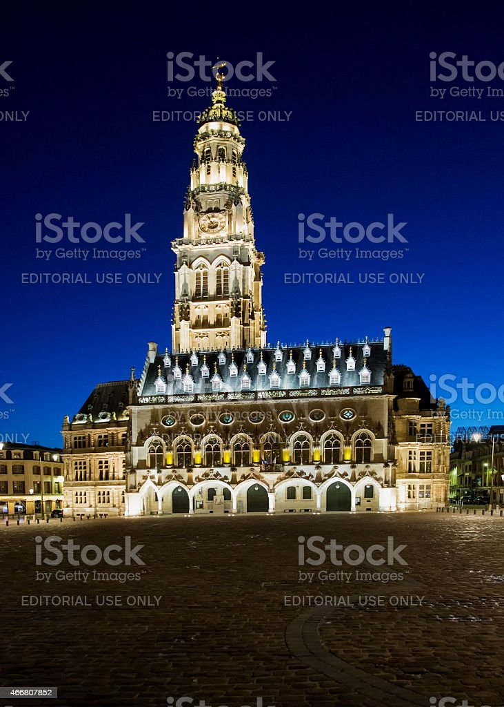 Hotel de Ville and belfry in Arras France, at night stock photo