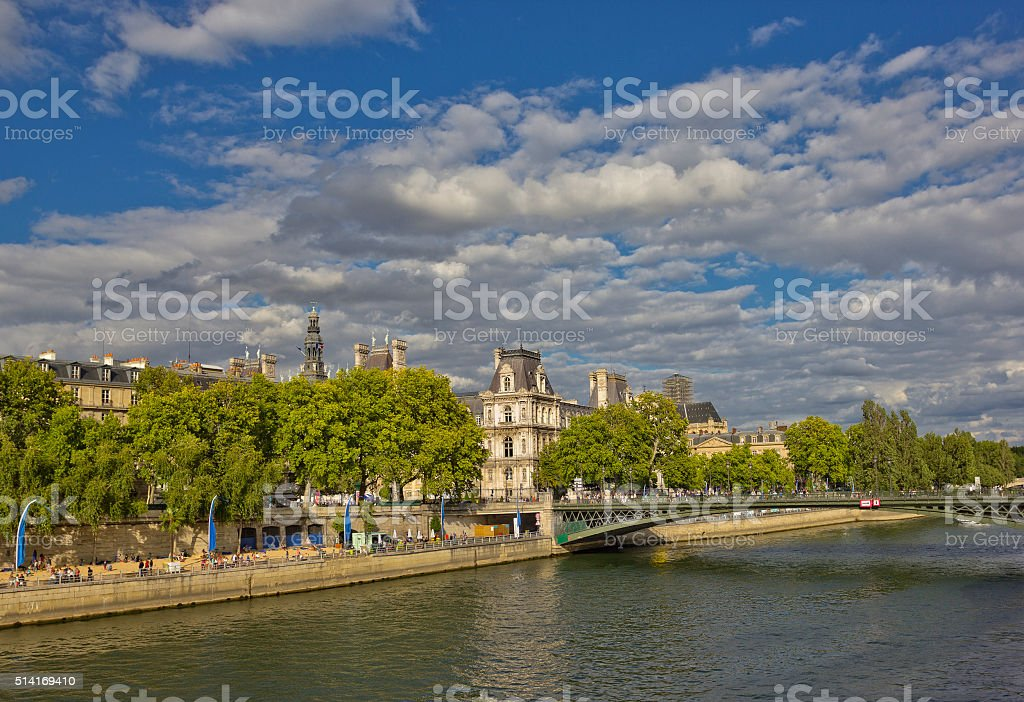 Hotel de Ville and Pont d'Arcole in Paris, France stock photo