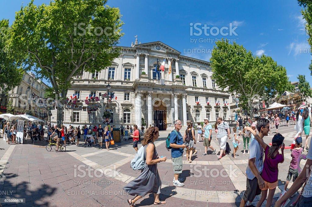 Hotel De Ville and square in Avignon stock photo