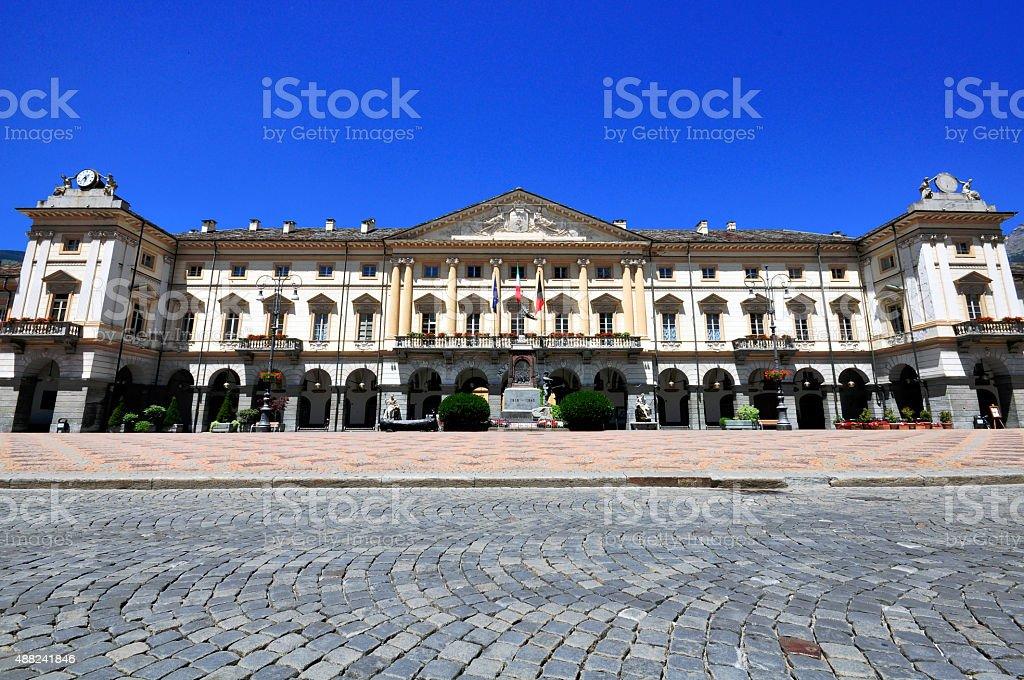 Hotel de Ville, Aosta stock photo