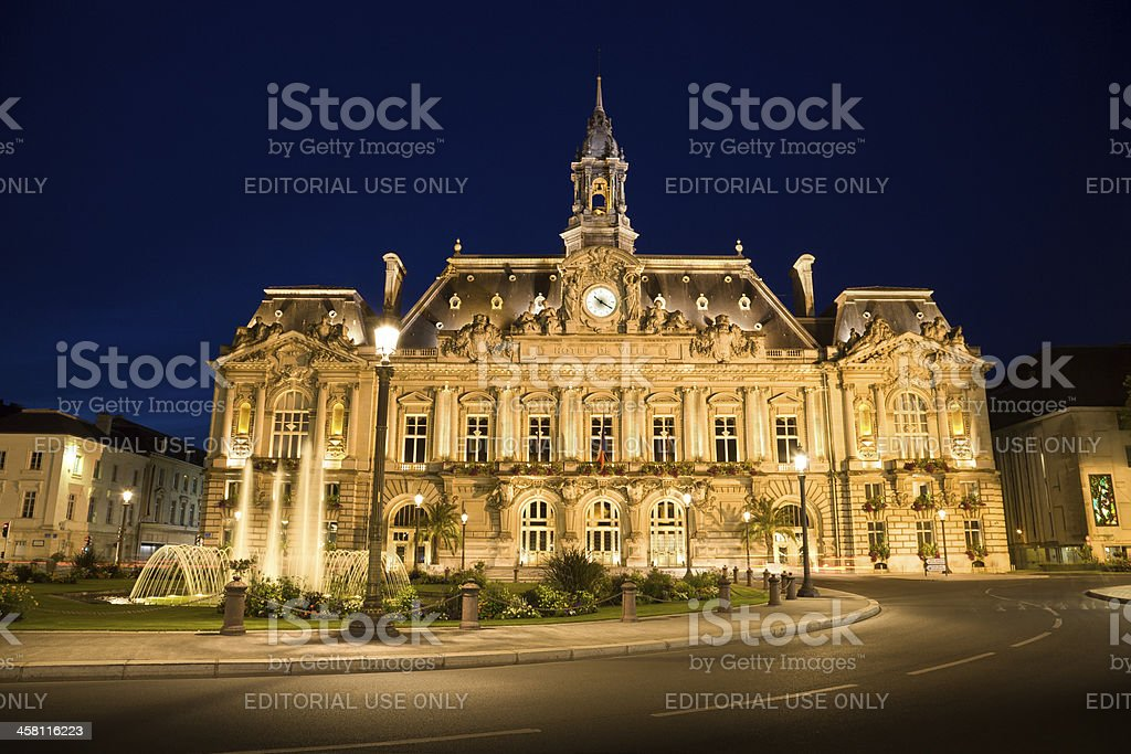 Hotel de Ville of Tours at night, France stock photo