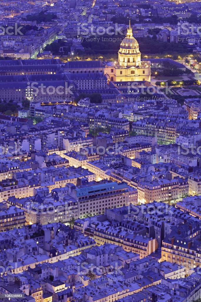 Hotel des Invalides at night royalty-free stock photo