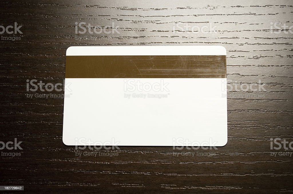 Hotel desk / night stand with blank keycard royalty-free stock photo
