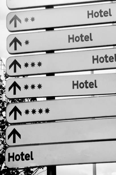 Hotel directional road signs and stars symbols. stock photo